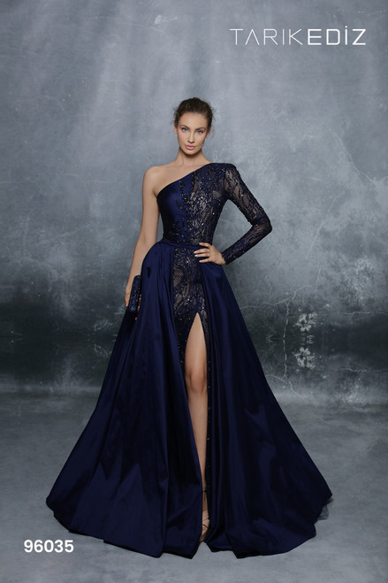 Tarik Ediz 96035 One Shoulder Long Sleeve Slit Long Gown