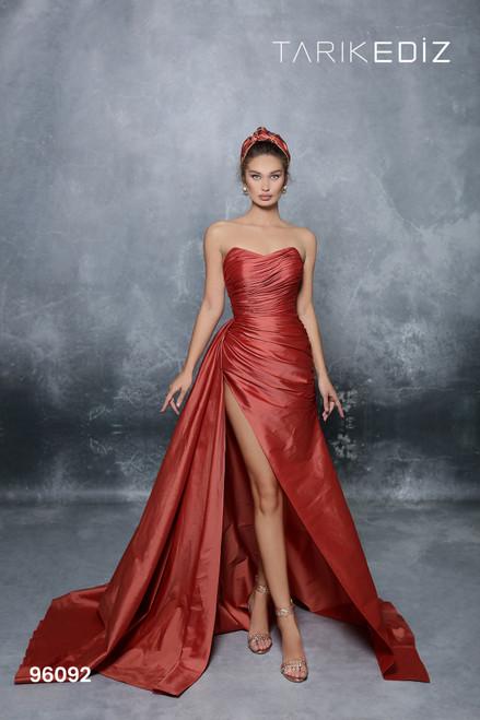 Tarik Ediz 96092 Strapless Wrap Fitted Bodice Taffeta Gown