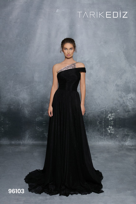 Tarik Ediz 96103 Embellished One Shoulder Chiffon Long Gown