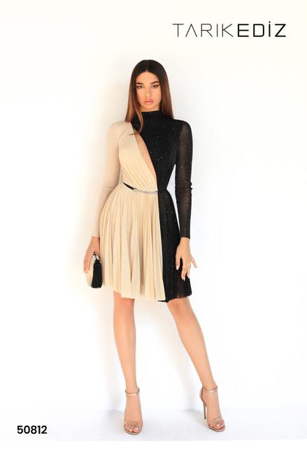 Tarik Ediz 50812 High Neck Long Sleeves Cocktail Dress