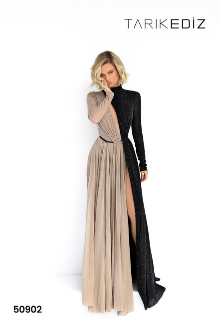 Tarik Ediz 50902 High Neck Long Sleeves Evening Dress