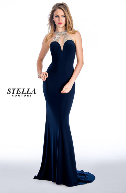 Stella Couture 18074 Jeweled Jersey Evening Gown