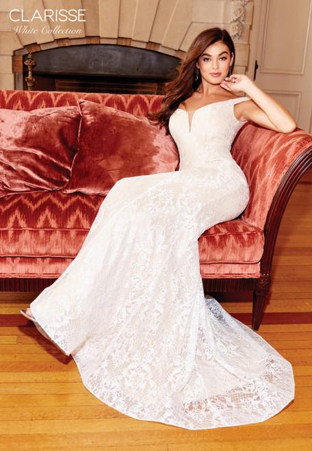 Clarisse 600109 Lace Deep Off-shoulder Mermaid Dress