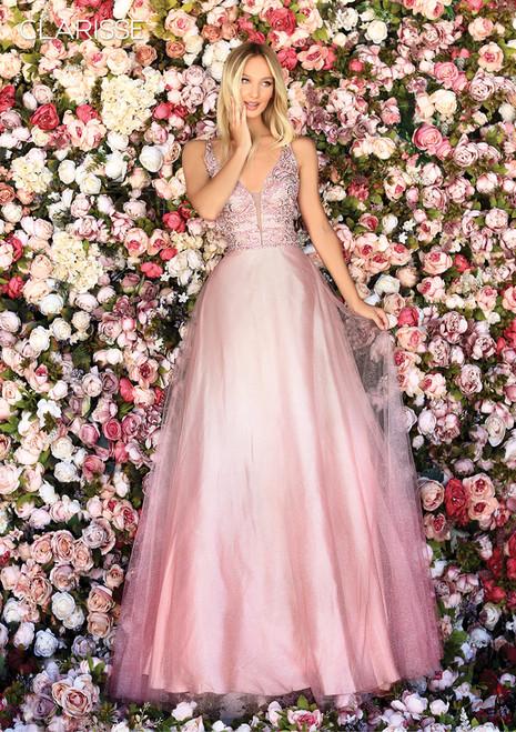 Clarisse 800201 Plunging V Neck Glitter Tulle Dress