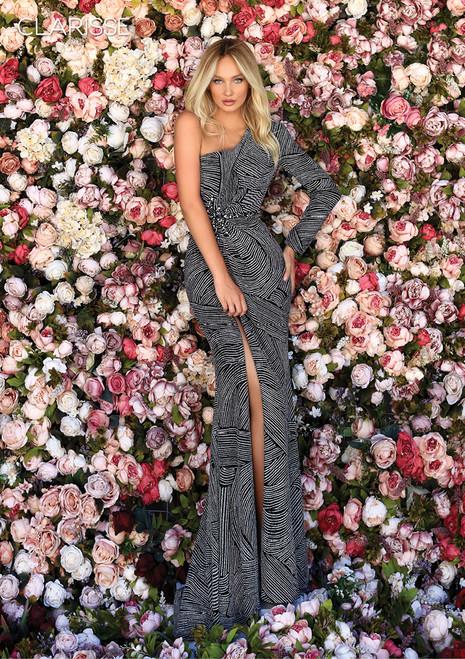 Clarisse 800277 Long Sleeve Draped Asymmetrical Print Gown