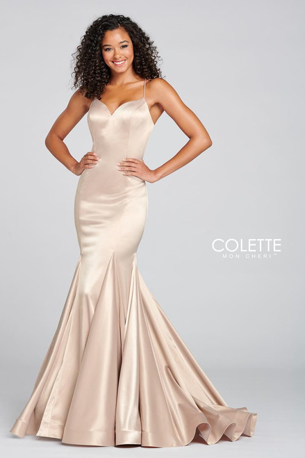 Colette by Mon Cheri CL12106 Sleeveless Stretch Satin Gown