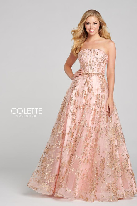Colette by Mon Cheri CL12127 Strapless Glitter Tulle Gown