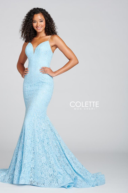 Colette by Mon Cheri CL12136 Sleeveless Allover Stretch Gown