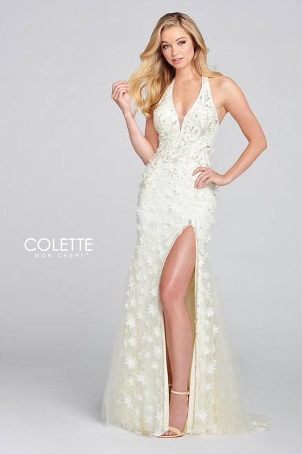 Colette by Mon Cheri CL12139 Sleeveless Glitter Tulle Gown