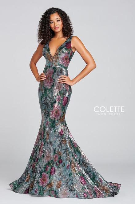 Colette by Mon Cheri CL12071LS Sleeveless Sequin Sheath Gown