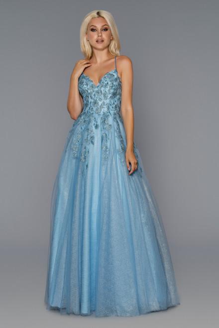 Stella Couture 21036 Sleeveless Open Back Corset Long Dress