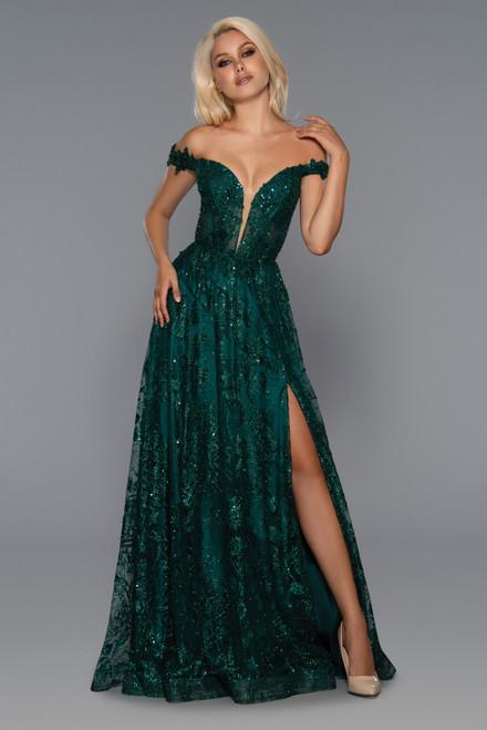 Stella Couture 21064 Sleeveless Open Back Corset Long Dress