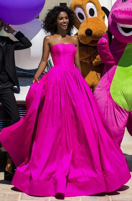 Tarik Ediz 50646 Sleeveless Strapless Straight Neck Gown