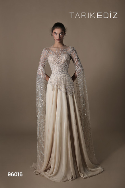 Tarik Ediz 96015 Floor-Length Sleeve Embroidered Long Dress