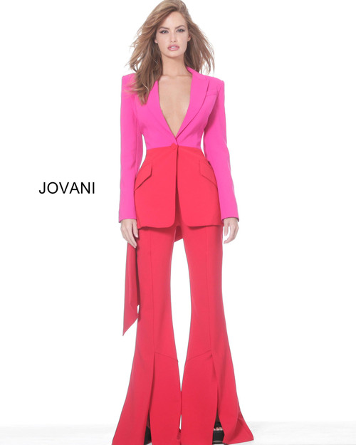 Jovani 04148 V Neck Long Sleeve Corset Long Jumpsuit