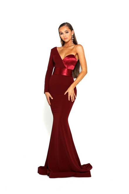Portia and Scarlett PS1920 Single Shoulder Long Sleeve Gown