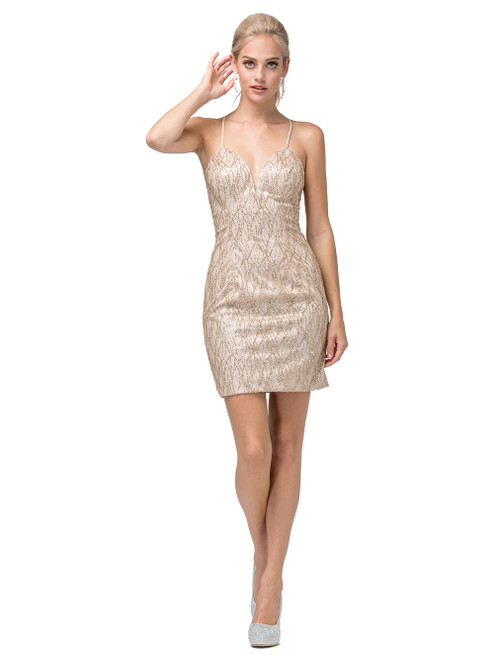Dancing Queen 3128 Sleeveless Embellished Deep V-neck Dress