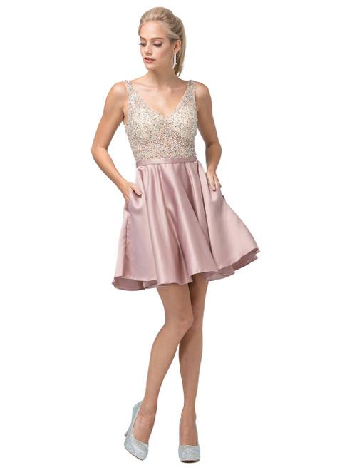 Dancing Queen 3092 Sleeveless Bejeweled V-neck Short Dress