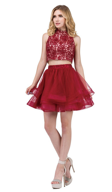 Dancing Queen 3042 Two Piece Floral Embroidered Short Dress