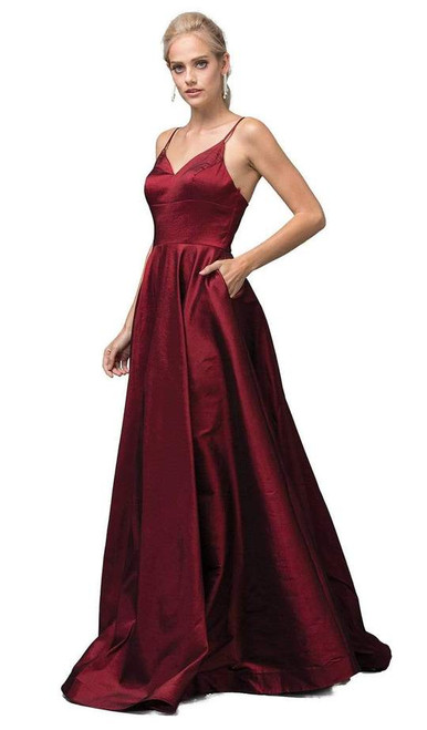 Dancing Queen 2825 Sleeveless V-neck Pleated A-line Gown