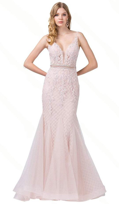 Dancing Queen 2742 Sleeveless Embroidered V-neck Dress