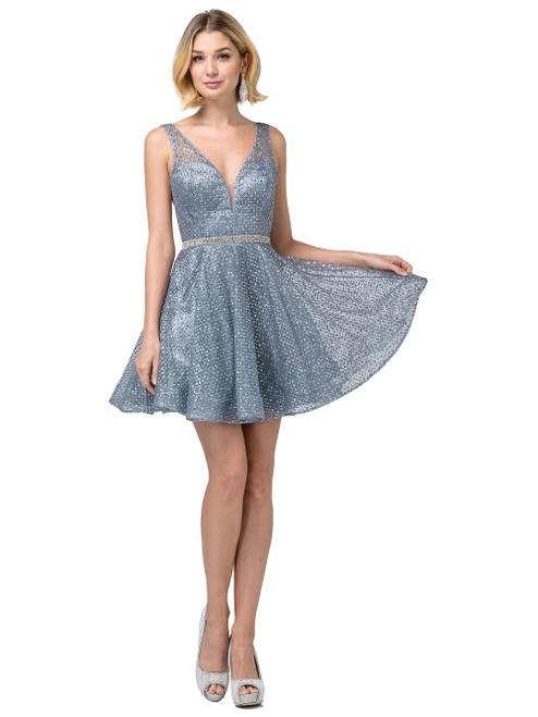 Dancing Queen 3126 Sleeveless Embellished Deep V-neck Dress