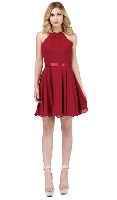 Dancing Queen 3013 Sleeveless Cut In Shoulders Short Dress