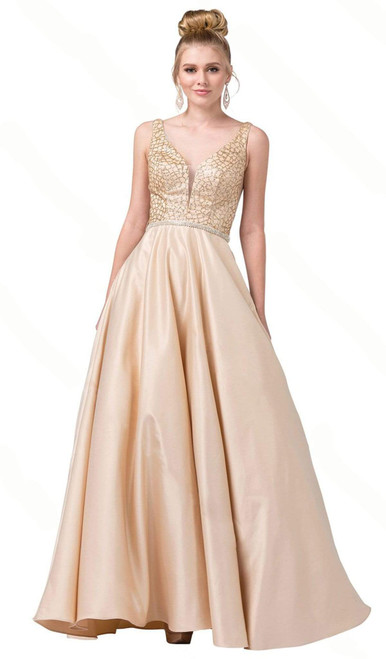Dancing Queen 2805 Sleeveless Plunging V-neck A-line Gown
