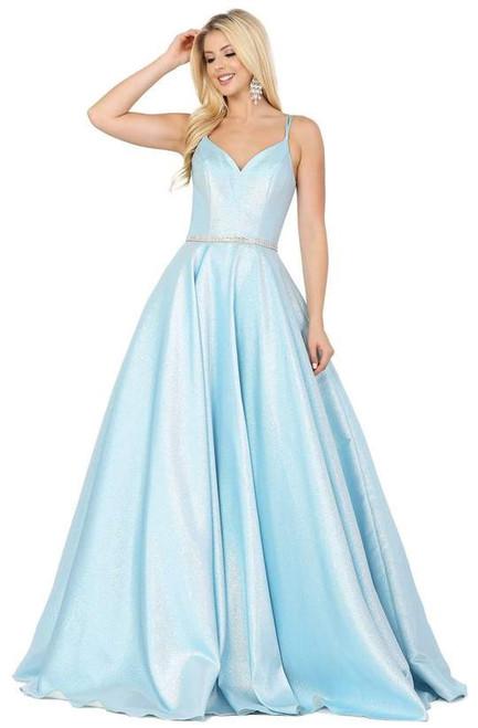 Dancing Queen 2958 Sleeveless Crisscross Back V-Neck Gown