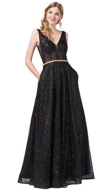 Dancing Queen 2593 Illusion Plunging V Neck Glitter Dress