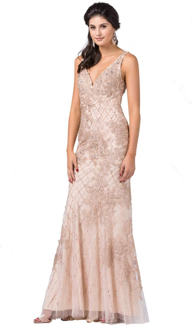 Dancing Queen 2515 Sleeveless Deep V-neck Beaded Long Gown