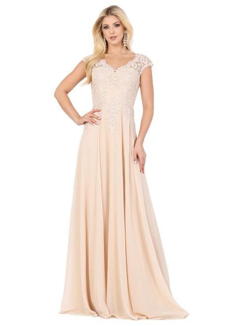 Dancing Queen 4122 Sheer Cap Sleeve Sweetheart Floral Dress