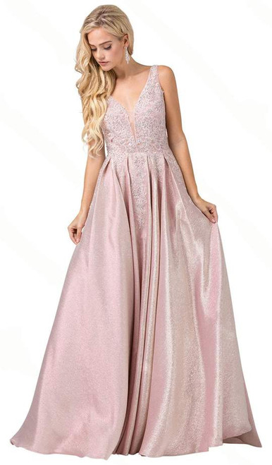 Dancing Queen 2747 Lace Appliqued Pleated A-line Long Dress