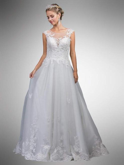 Dancing Queen 0023 Cap Sleeve Illusion Floral Long Ballgown