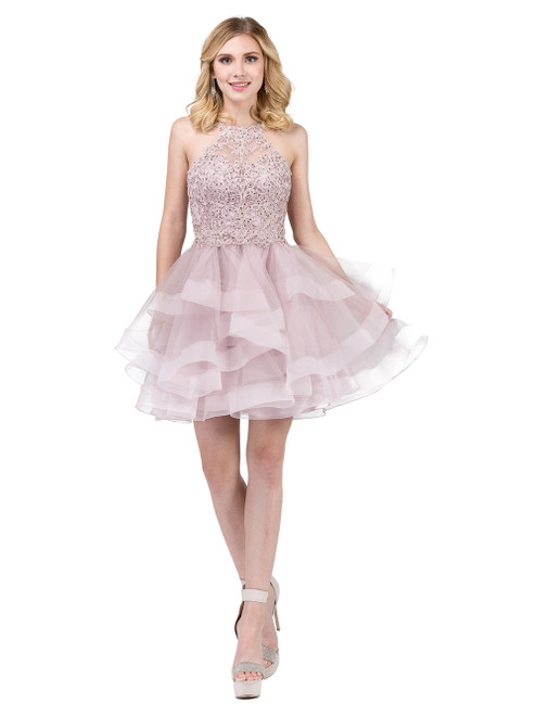 Dancing Queen 3078 Halter Lace Top and Tulle Skirt Dress