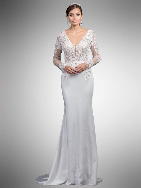 Dancing Queen 0052 Beaded Lace Long Sleeve V-neck Dress