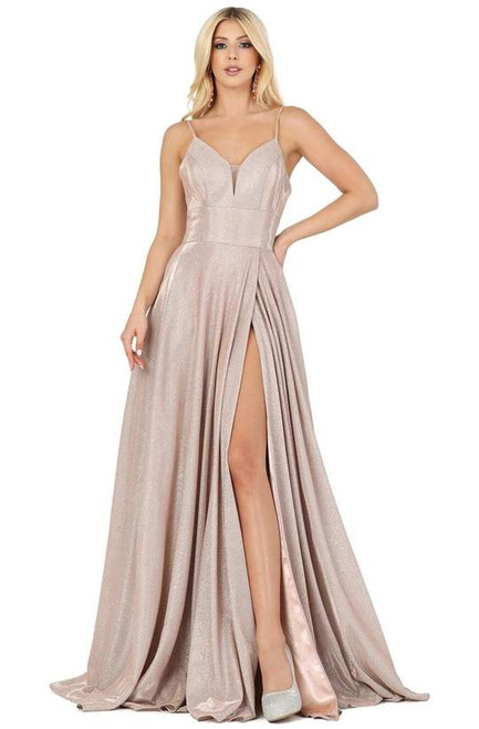 Dancing Queen 4076 Sleeveless Plunging V-neck A-line Gown
