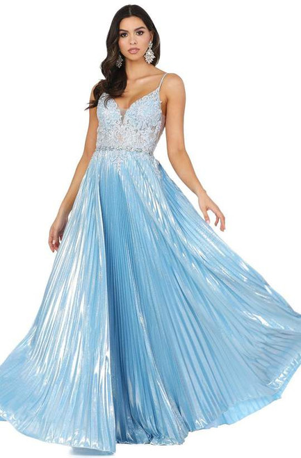 Dancing Queen 4038 Embroidered Deep V-neck Pleated Dress