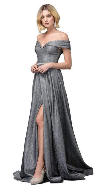 Dancing Queen 2824 Off-shoulder Short Sleeves Long Gown