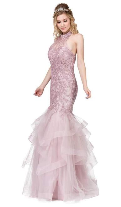 Dancing Queen 2447 Sleeveless Applique Halter Tiered Dress