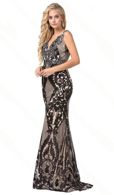 Dancing Queen 2733 Sleeveless Sequined Plunging V-neck Gown