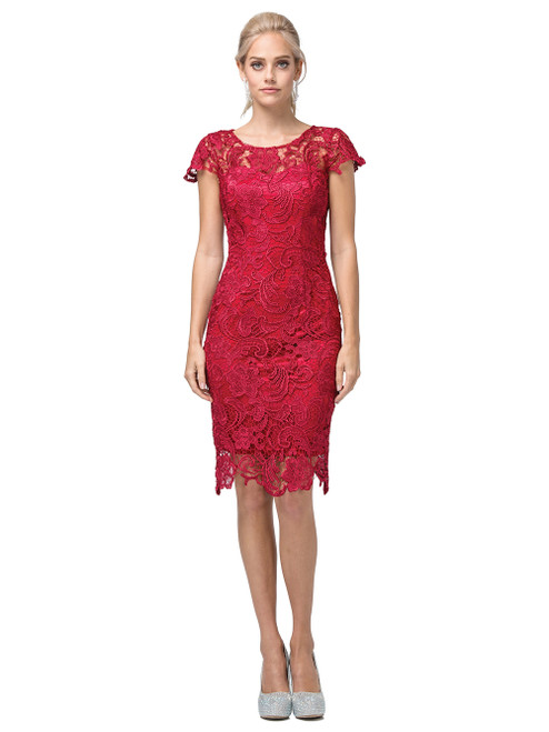 Dancing Queen 9677 Short Sleeves Lace Embroidered Dress
