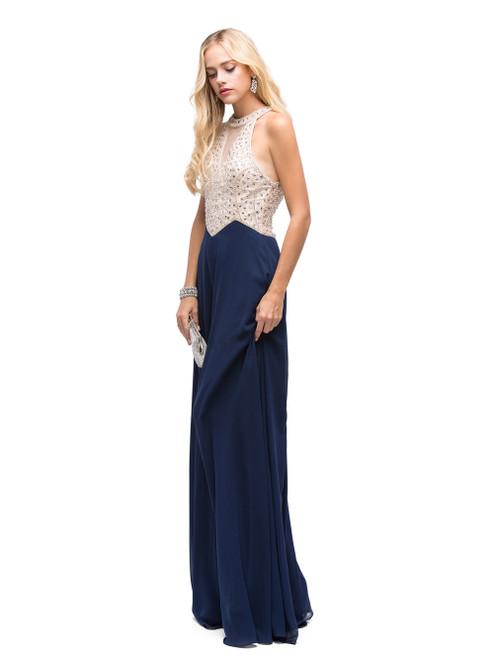 Dancing Queen 9881 Sleeveless Bedazzled Halter A-line Dress