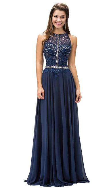 Dancing Queen 9283 Appliqued Illusion Beaded Chiffon Dress