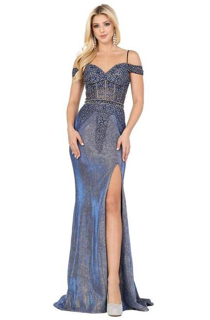 Dancing Queen 4011 Embellished Off-shoulder Trumpet Dress