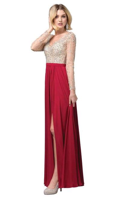 Dancing Queen 2839 Long Sleeve Beaded Bodice V-Neck Dress