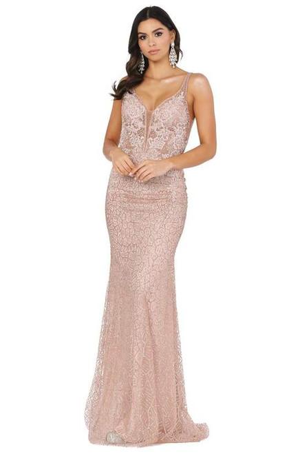 Dancing Queen 2985 Sleeveless Embellished Deep V-neck Dress