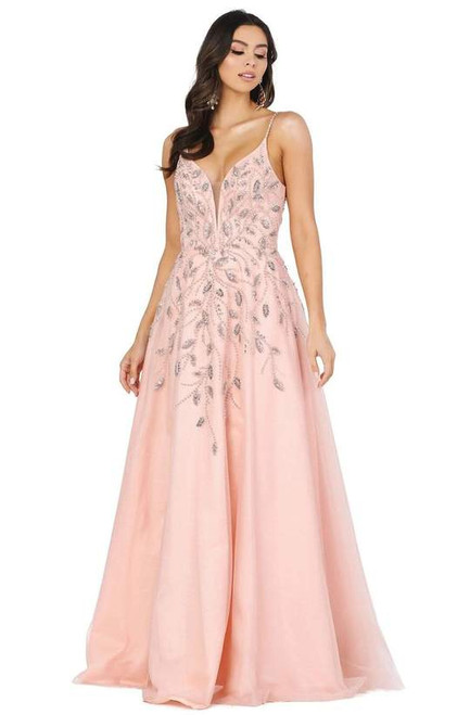 Dancing Queen 2965 Sleeveless Embellished Deep V-neck Dress