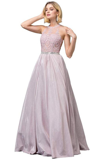 Dancing Queen 2829 Sleeveless Embroidered Halter Neck Gown