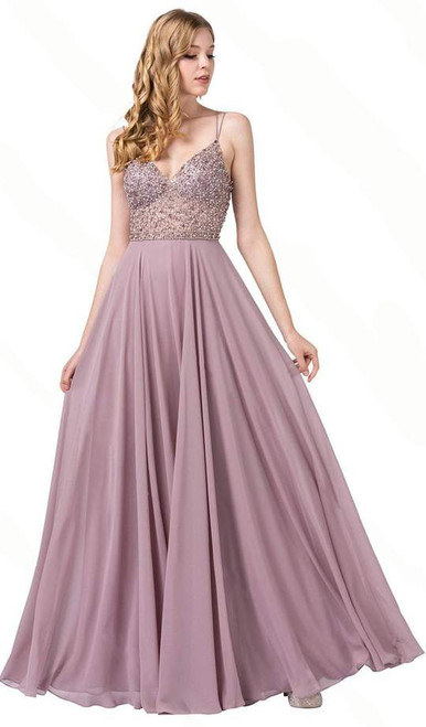 Dancing Queen 2780 Sleeveless Beaded V-neck Long Gown
